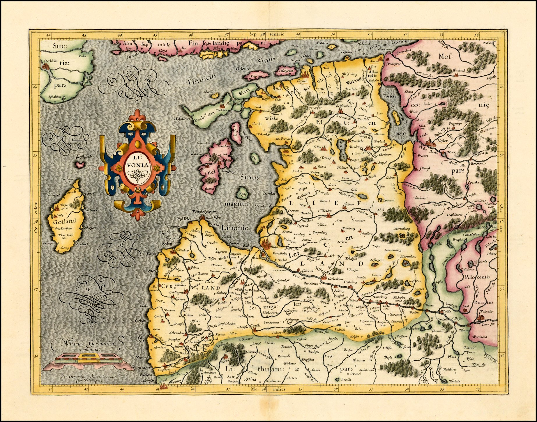 Maps1623 50 lithuania paris 55 x 8 inches from his atlas minor first published in 1607 compare with 1620 versions from beach antique maps prints on ebay gumiabroncs Choice Image